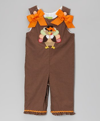 Brown Pilgrim Turkey Ruffle Romper - Infant & Toddler