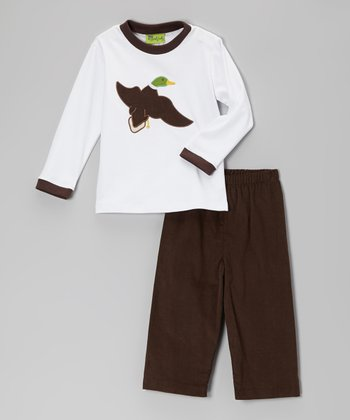 White Mallard Tee & Brown Corduroy Pants - Infant, Toddler & Boys
