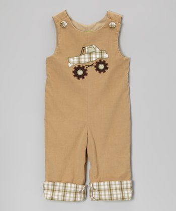 Khaki Monster Truck Corduroy Overalls - Infant & Toddler