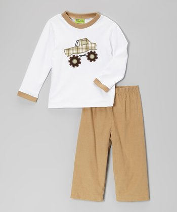 White Monster Truck Tee & Khaki Pants - Infant, Toddler & Boys