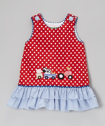 Red On the Farm A-Line Jumper - Infant, Toddler & Girls