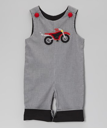 Black Gingham Motorcycle Overalls - Infant & Toddler