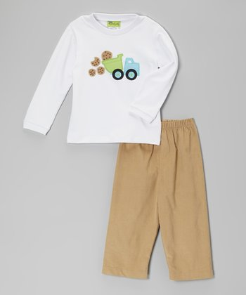 White Cookie Truck Tee & Khaki Corduroy Pants - Infant, Toddler & Boys