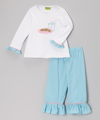 White Cookies & Milk Tee & Aqua Ruffle Pants - Toddler & Girls