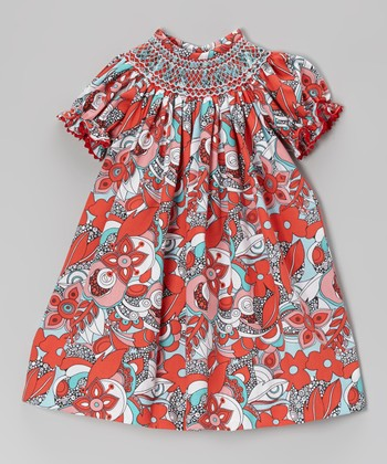 Red Flower Swirl Smocked Bishop Dress - Infant, Toddler & Girls
