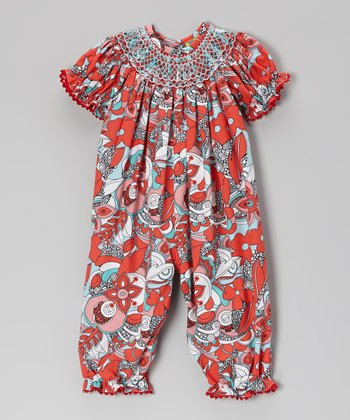 Red Flower Swirl Smocked Playsuit - Infant & Toddler