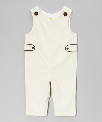 Ivory & Brown Corduroy Overalls - Infant & Toddler