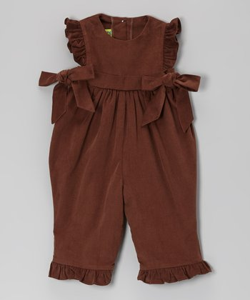 Brown Corduroy Ruffle Romper - Infant & Toddler