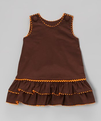 Brown Basic Ruffle A-Line Dress - Infant & Toddler