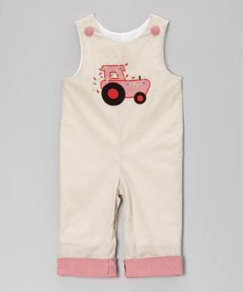 Beige Gingham Tractor Overalls - Infant & Toddler