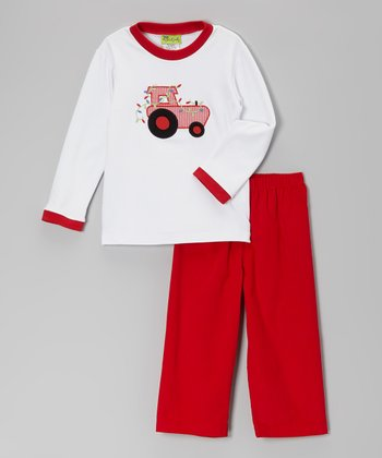 White Tractor Tee & Red Corduroy Pants - Infant & Toddler