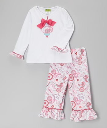 White Ornament Tee & Pink Paisley Ruffle Pants - Toddler & Girls