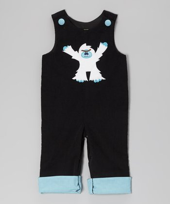 Black Corduroy Abominable Snowman Overalls - Infant & Toddler