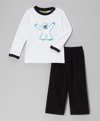White Snowman Tee & Black Corduroy Pants - Infant, Toddler & Boys