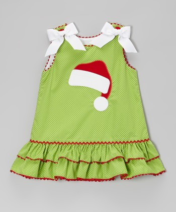 Lime Polka Dot Santa Hat A-Line Dress - Infant, Toddler & Girls