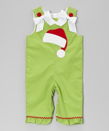 Lime Polka Dot Santa Hat Ruffle Overalls - Infant & Toddler