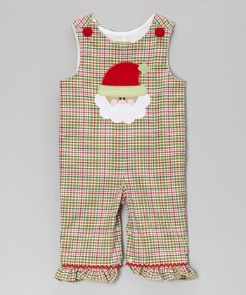 Christmas Plaid Santa Face Ruffle Overalls - Infant & Toddler