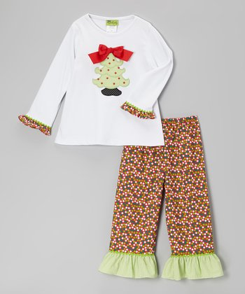 White Tree Tee & Dot Ruffle Pants - Infant, Toddler & Girls