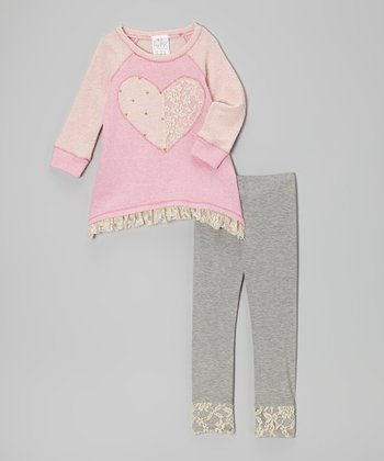 Pink Lace Heart Tunic & Gray Leggings - Toddler & Girls
