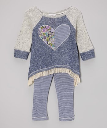 Navy Heart Tunic & Stripe Leggings - Toddler & Girls