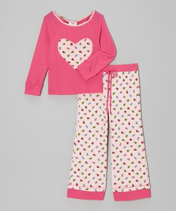 Pink Ladybug Heart Top & Pants - Toddler & Girls