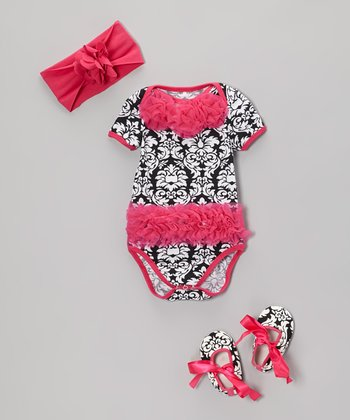 Hot Pink Damask Ruffle Bodysuit Set - Infant