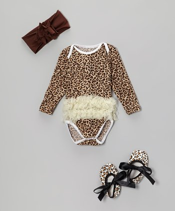 Brown Leopard Ruffle Bodysuit Set - Infant