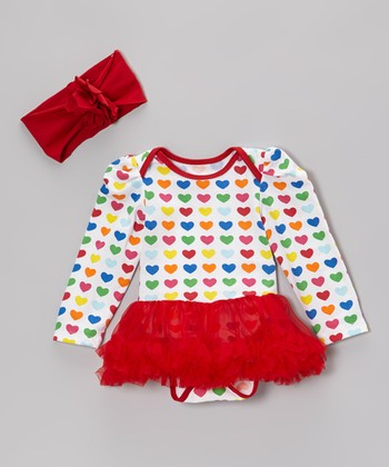 Red & White Heart Ruffle Bodysuit & Headband - Infant