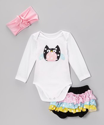 White & Pink Polka Dot Owl Bodysuit Set