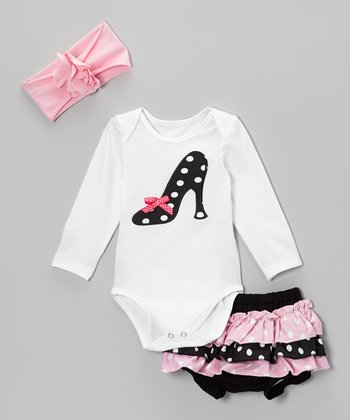 White & Black Polka Dot Shoe Bodysuit Set