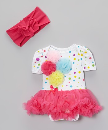 White & Pink Polka Dot Tutu Bodysuit & Headband