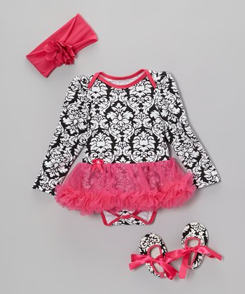 Hot Pink Damask Skirted Bodysuit Set - Infant