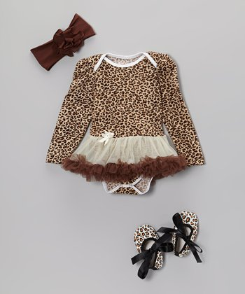 Brown Leopard Long-Sleeve Skirted Bodysuit Set - Infant