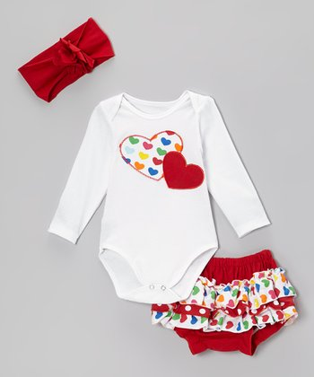 White & Red Heart Bodysuit Set
