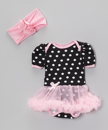 Pink & Black Polka Dot Skirted Bodysuit & Headband
