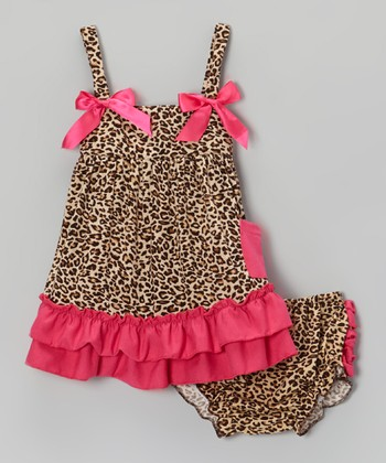 Brown & Hot Pink Leopard Ruffle Swing Top & Diaper Cover - Infant