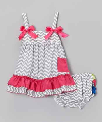 Gray & Hot Pink Zigzag Ruffle Swing Top & Diaper Cover