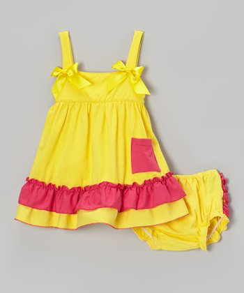 Yellow & Hot Pink Ruffle Swing Top & Diaper Cover