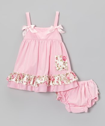 Pink Floral Ruffle Swing Top & Diaper Cover - Infant