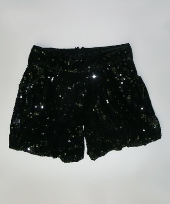 Black Sequin Shorts - Girls