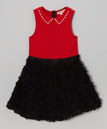Red & Black Rosette Babydoll Dress - Toddler & Girls