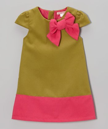 Green & Pink Bow Wool-Blend Cap-Sleeve Dress - Toddler & Girls