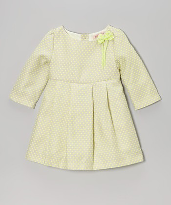 Green Polka Dot Babydoll Dress - Toddler & Girls