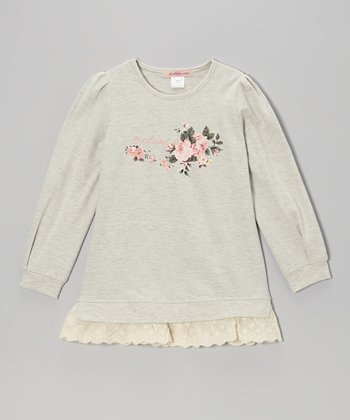 Gray Flower Sweatshirt Dress - Girls