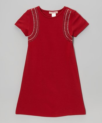Red Studded Swing Dress - Toddler & Girls