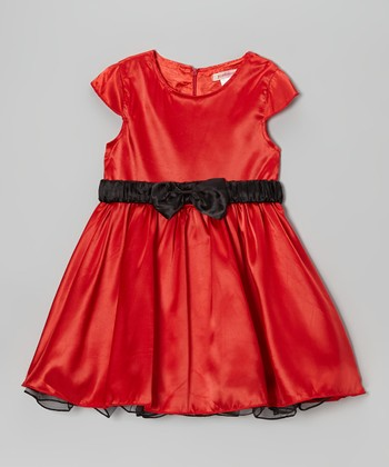 Red & Black Bow Cap-Sleeve Dress - Toddler & Girls