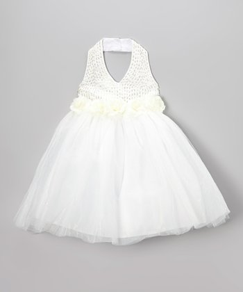 White Sequin Rosette Halter Dress - Toddler & Girls