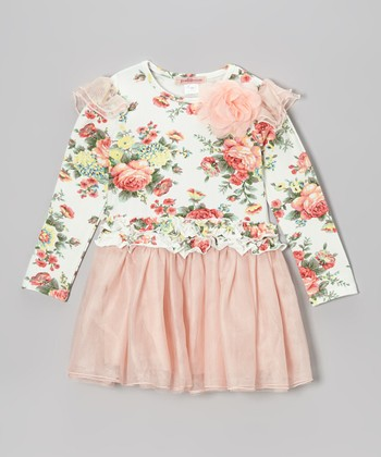 Pink Floral Tutu Dress - Girls