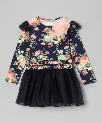 Navy Floral Tutu Dress - Girls