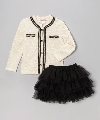 Ivory & Black Bouclé Cardigan & Tutu - Girls